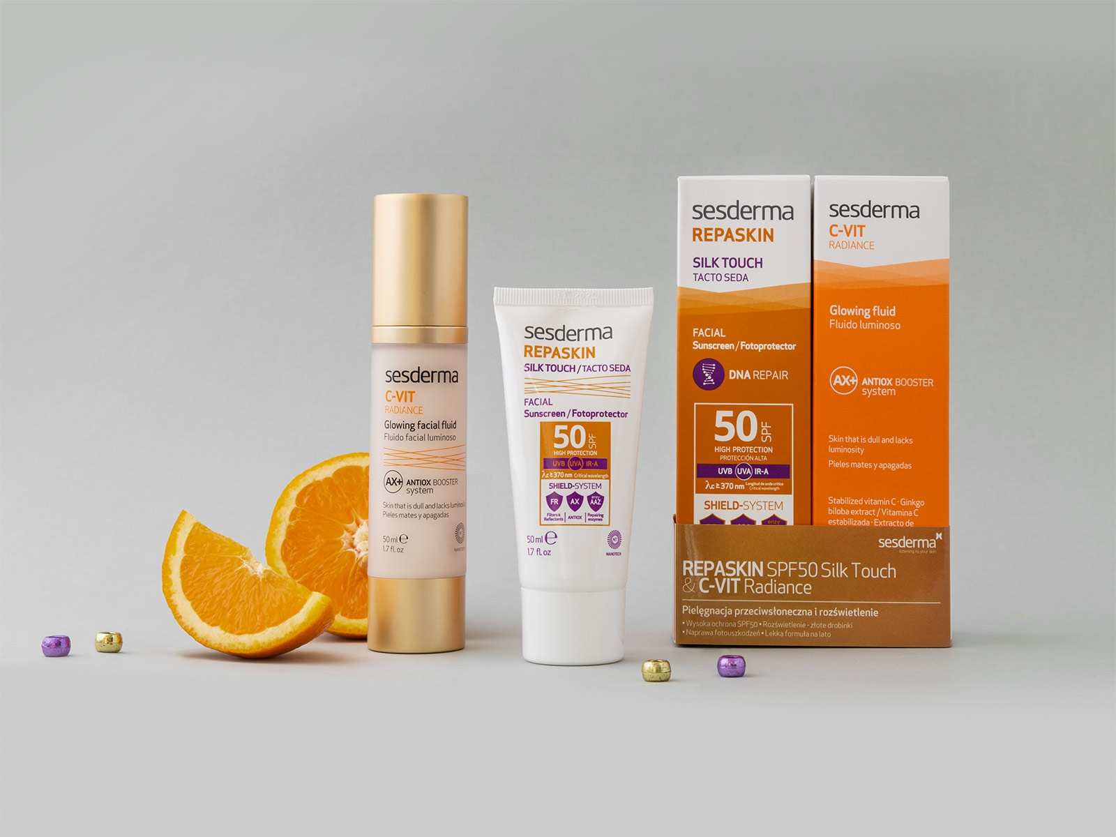 REPASKIN Silk Touch SPF50 + C-VIT Radiance krem 50 ml + 50 ml